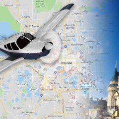 Plane Image Over Orlando Map